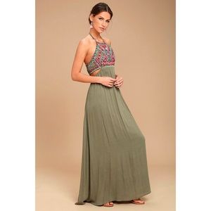 Lulus Little Beach Olive Green Embroidered Maxi